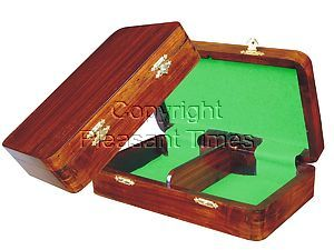 "Wooden Chess Pieces Storage Box for King Size 3-1/2"" to 3-3/4"" Walnut Colored"