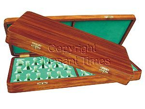 """Wooden Presentation Box for Chess Pieces from King Size 3-3/4"""" to 4"""" Walnut Colored"""