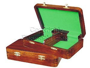 """Wooden Chess Pieces Storage Box for King Size 4"""" to 4-1/2"""" Walnut Colored"""
