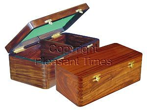 """Wooden Chess Box for Storage of Pieces from King Size 4"""" to 4-1/2"""" in Walnut Color"""