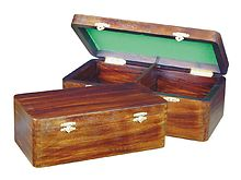 "Wooden Chess Box for Storage of Pieces from King Size 2-1/2"" to 2-3/4"" in Walnut Color"