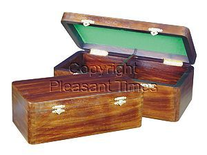 """Wooden Chess Box for Storage of Pieces from King Size 2-1/2"""" to 2-3/4"""" in Walnut Color"""
