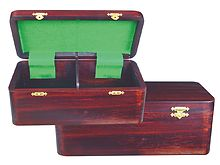 "Wooden Chess Box for Storage of Pieces from King Size 3"" to 3-1/2"" in Rosewood Color"
