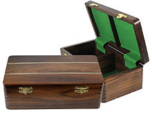 "Ebony/Maple Inlaid Solid Rosewood Chess Box for Storage of Pieces from King Size 4"" to 4-1/2"""