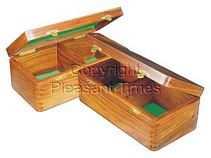 """Wooden Chess Box for Storage of Pieces from King Size 3-1/2"""" to 3-3/4"""" in Golden Rosewood"""