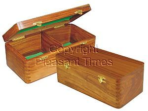 "Wooden Chess Box for Storage of Pieces from King Size 3"" to 3-1/2"" in Golden Rosewood"