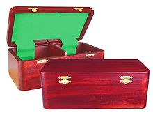 "Wooden Chess Box for Storage of Pieces from King Size 3"" to 3-1/2"" in Mahogany Color"