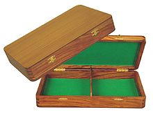 "Wooden Chess Pieces Storage Box for King Size 2-1/2"" to 2-3/4"" Golden Rosewood"