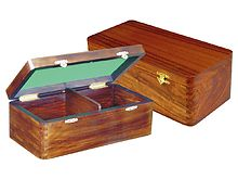 "Wooden Chess Box for Storage of Pieces from King Size 3"" to 3-1/2"" in Walnut Color"