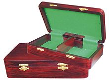 "Wooden Chess Pieces Storage Box for King Size 2-1/2"" to 2-3/4"" Rosewood Colored"