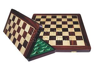 """Wooden Folding Chess Board Rosewood/Maple 22"""""""