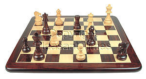 Wooden Flat Chess Board Rosewood/Maple 21""