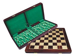 """Folding Chess Board/Box Rosewood/Maple 18"""" with chessmen inserts"""