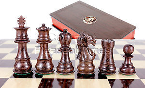 "Rosewood/Boxwood Chess pieces Galaxy Staunton 3"" + 2 Extra Queens + Wooden Designer Storage Box"