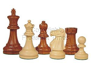 "Supreme Staunton Wood Chess Pieces Golden Rosewood/Boxwood 3-3/4"""