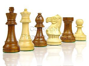"Tournament Style Popular Staunton Wooden Chess Pieces King Size 4"" Golden Rosewood/Boxwood"