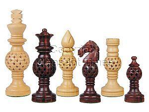 Globe Design Artistic Wood Chess Set Pieces Rosewood/Boxwood 4-1/4""