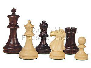 "Wooden Chess Pieces Supreme Staunton Rosewood/Boxwood 3-3/4"""