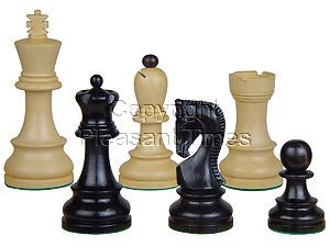 "Yugo (Zagreb) Staunton Wooden Tournament Chess Pieces King Size 3-3/4"" Ebony/Boxwood + 2 Extra Queens"