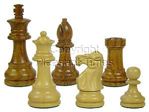 """Wooden Unique Staunton Chess Pieces King Size 3-1/2"""" Golden Rosewood/Boxwood"""