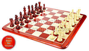 """Bud Rosewood/Boxwood Chess Set Pieces Royal Knight Staunton 4.5"""" + 2 Extra Queens"""