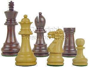 "Wood Chess Set Pieces Monarch Staunton King Size 3-1/2"" Rosewood/Boxwood"