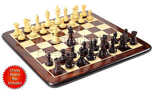"Rosewood Chess Set Pieces Emperor Staunton 3.6"" + 2 Extra Queens"