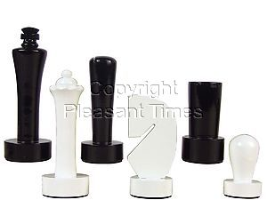 """Artistic Berliner Wood Chess Set Pieces King Size 4"""" Black/Ivory Colored"""