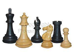 "Wood Chess Set Pieces Majestic Staunton Ebony/Boxwood 4"""
