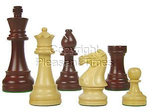 "Tournament Style Popular Staunton Wooden Chess Pieces King Size 4"" Rosewoodnized/Boxwood"