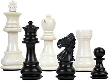 "Camel Bone Hand Carved Emperor Staunton Chess Pieces King Size 2-3/4"" Faux Ivory/Black"