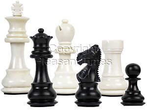 """Camel Bone Hand Carved Emperor Staunton Chess Pieces King Size 2-3/4"""" Faux Ivory/Black"""