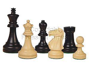 "Wooden Chess Pieces Supreme Staunton Ebony/Boxwood 3-3/4"""
