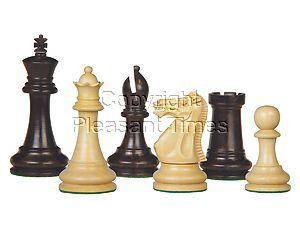 "Tournament Chess Pieces Wooden Monarch Staunton Ebony/Boxwood 4"""