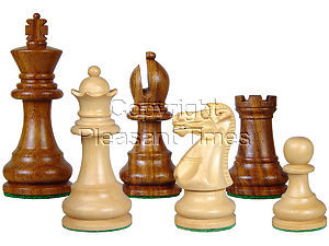 """Wood Chess Set Pieces Monarch Staunton King Size 3"""" Golden Rosewood/Boxwood"""