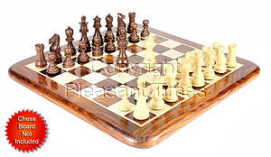 "Walnut/Boxwood Chess Set Pieces Galaxy Staunton 3"" (76 mm) + 2 Extra Queens - Triple Weighted"
