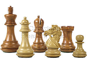 """Premier Chess Pieces Bridle Knight Staunton King Size 3-3/4"""" Golden Rosewood/Boxwood"""