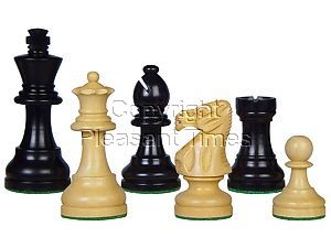 "Popular Staunton Tournament Wood Chess Set Pieces 3-3/4"" Ebonized/Boxwood"