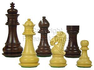 "Premier Chess Pieces Royal Knight Staunton King Size 3-1/2"" Rosewood/Boxwood"