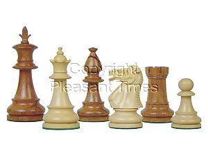 "Victorian Staunton Wooden Chess Pieces Golden Rosewood/Boxwood 3-3/4"""