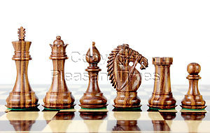 """Golden Rosewood/Boxwood Chess Set Pieces Rio Staunton 4.0"""" (102 mm) - 2 Extra Queens - Triple Weighted"""
