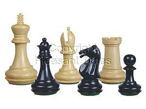 "Emperor Staunton Wooden Chess Pieces Ebonized/Boxwood 4"""