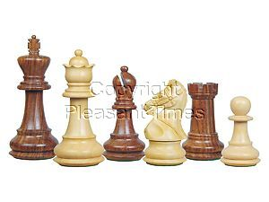 Premier Chess Set Pieces Royal Crown Staunton Golden Rosewood/Boxwood 4-1/4inch
