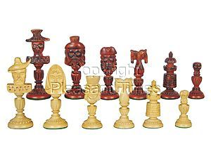 """Angel-n-Devils Theme Chess Pieces Rosewood/Boxwood 4-1/4"""""""