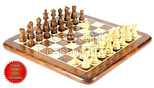 """Golden Rosewood/Boxwood Chess Set Pieces Galaxy Staunton 3"""" (76 mm) + 2 Extra Queens - Triple Weighted"""