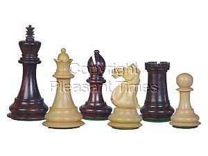"Wood Chess Set Pieces Majestic Staunton Rosewood/Boxwood 4"""
