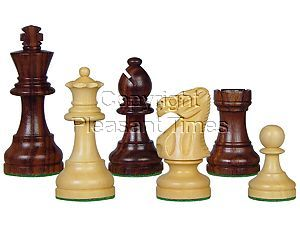 "Popular Staunton Tournament Wood Chess Set Pieces 3-3/4"" Rosewood/Boxwood"