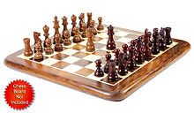 "Bud Rosewood/Mahogany Wood Chess Set Pieces Galaxy Staunton 3"" + 2 Extra Queens"