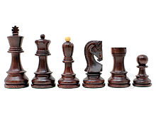 "Ringy Rosewood / Boxwood Chess Set Pieces Yugo (Zagreb) Staunton 3.75"" (95 mm) + 2 Extra Queens - Double Weighted"