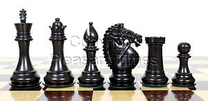 """Ebony Wood / Boxwood Chess Set Pieces Rio Staunton 4.0"""" (102 mm) - 2 Extra Queens - Triple Weighted"""